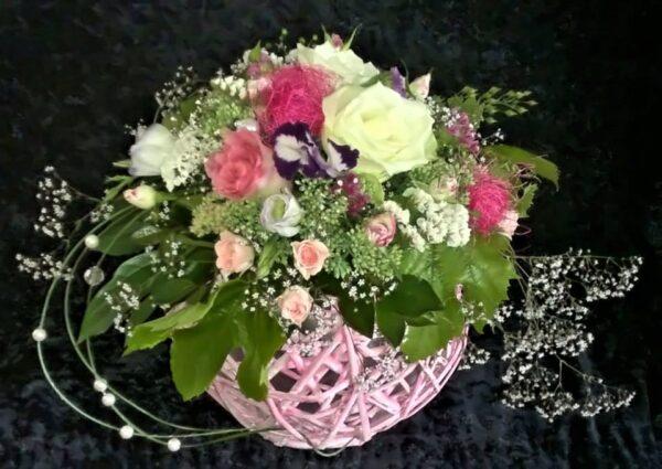цветы, букет, розовый шар