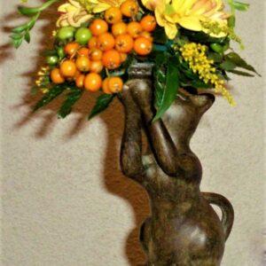 цветы, букет, кот