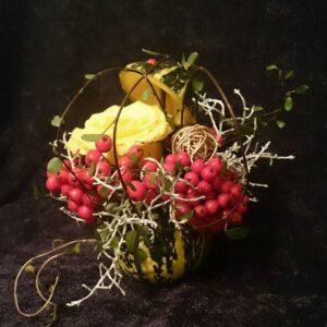 цветы, букет, букет в тыкве