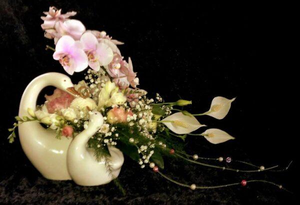 цветы, букет, свадебные цветы, лебеди, свадьба