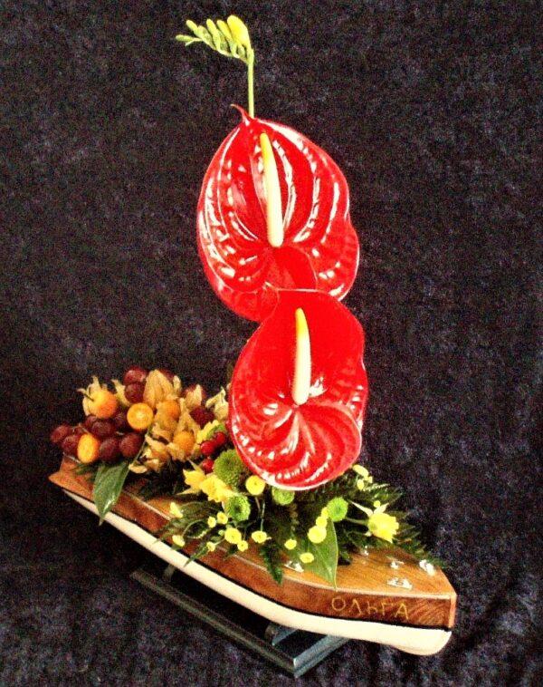 цветы, букет, лодка, корабль