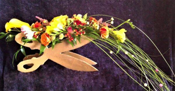 цветы, букет, букет парикмахеру, ножницы