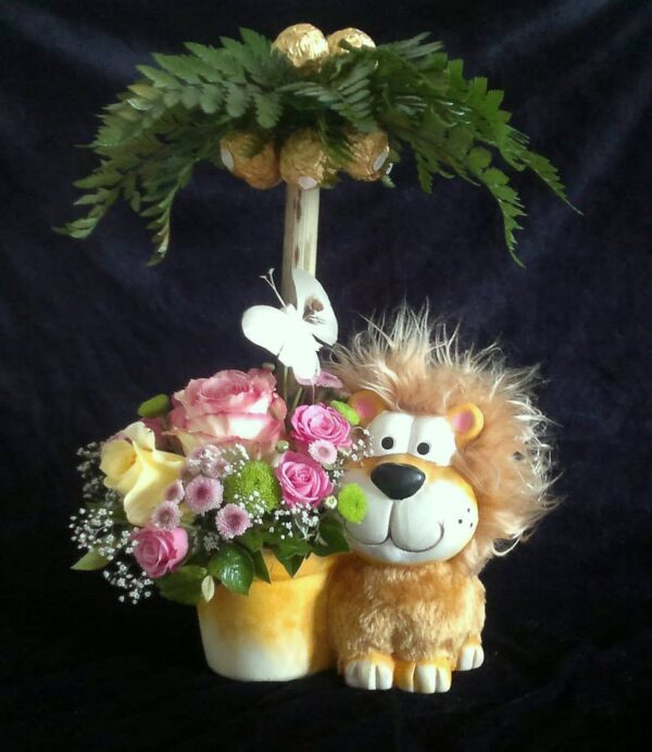 букет ребенку, букет со львенком, лев, цветы