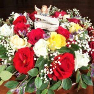 цветы, букет, ангел за роялем