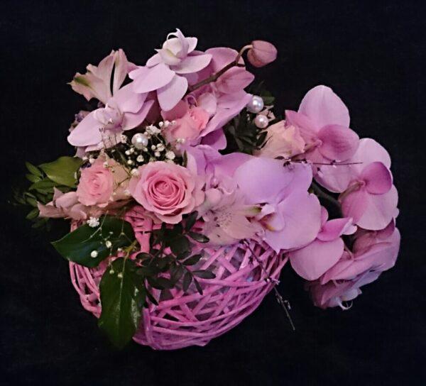 цветы, букет, орхидеи, розовый шар
