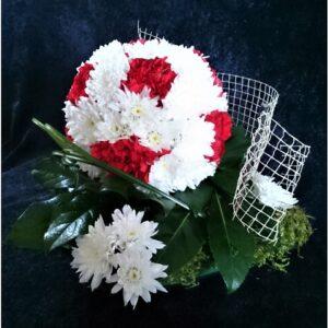 цветы, букет, футбольный мяч, букет мужчине