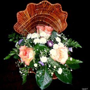 цветы, букет, ракушка с цветами