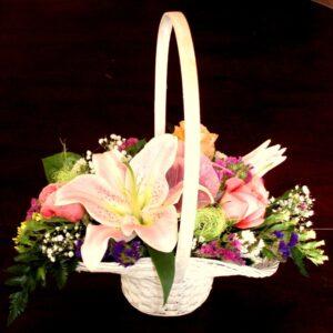 цветы, лилии, букет, корзинка с цветами