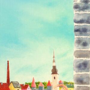 картина, живопись, старый город город, ангел-кот