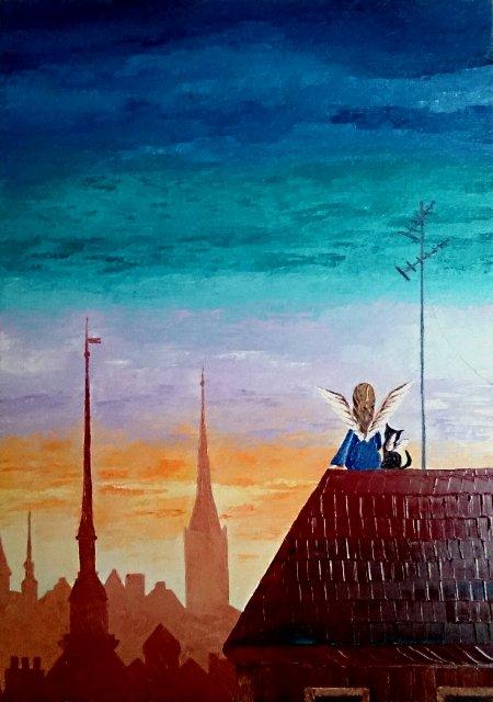 картина, картина маслом, живопись, старый город