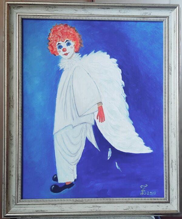 картина ангел-клоун