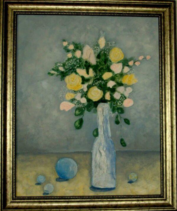 картина, живопись, желтые розы