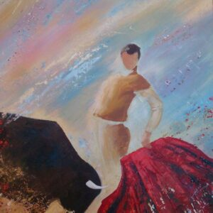 картина, живопись, тореро, бык, коррида