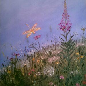 картина, живопись, стрекоза, лето
