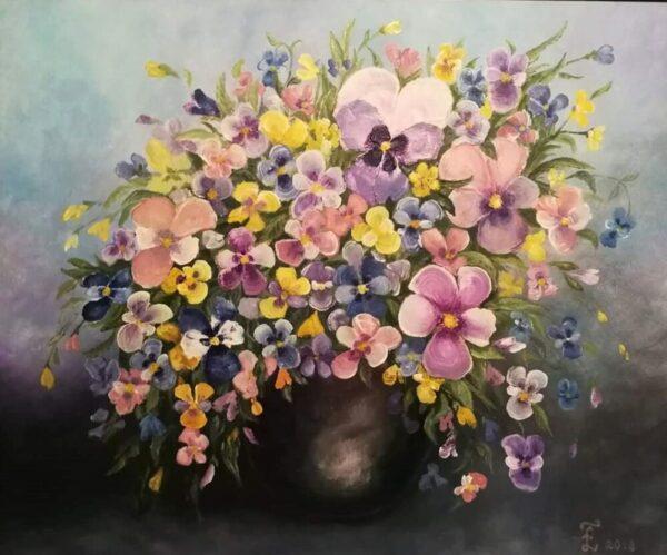 картина, живопись, фиалки, анютины глазки, цветы