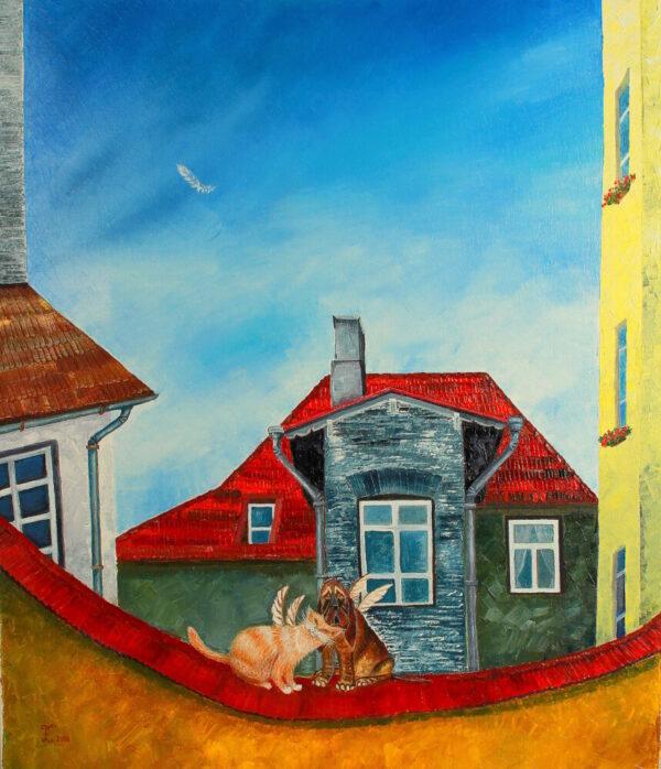 картина, живопись, старый город, кот и пес