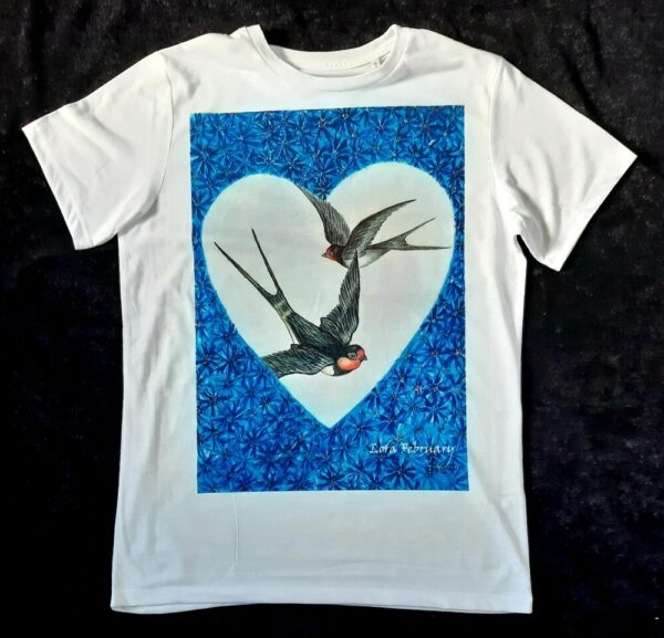 футболка, футболка с принтом, ласточки